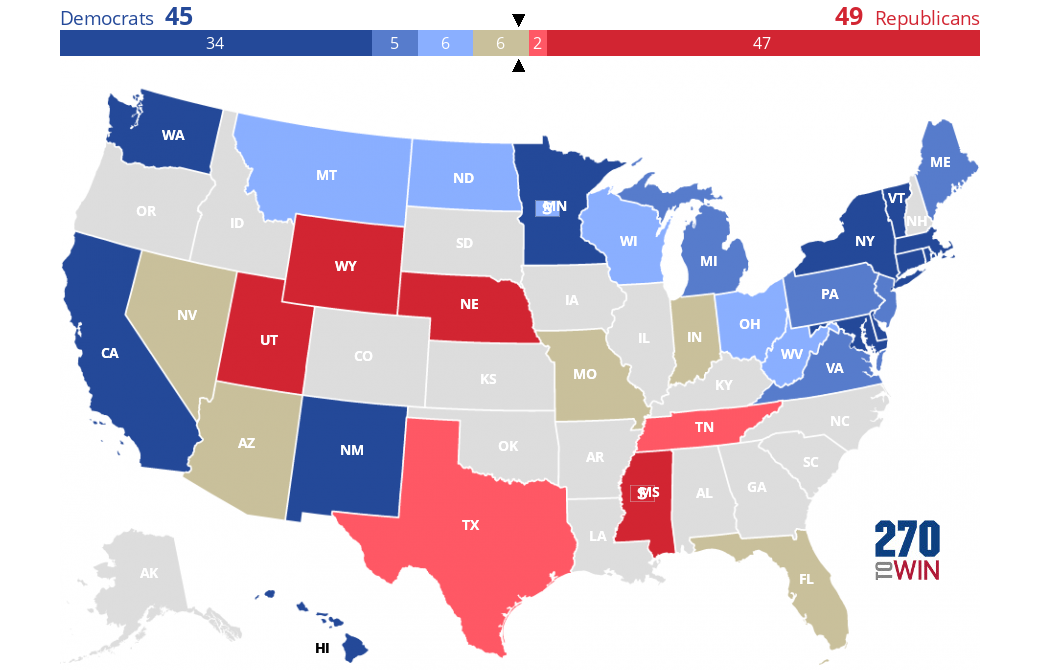 Midterm Election Predictions >> 2018 Senate Election Interactive Map