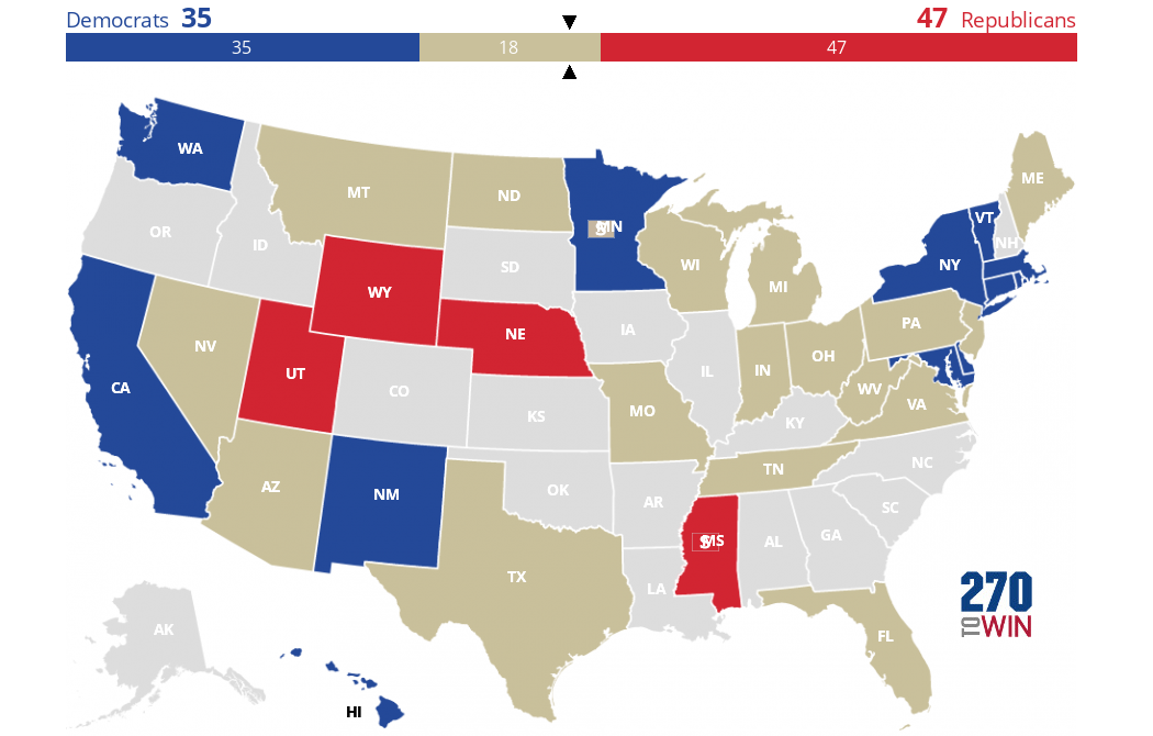 Election News Polls And Results - Us senate map 2015