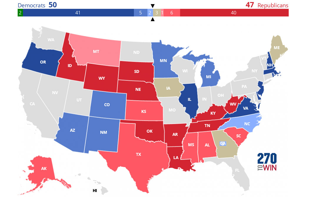 Interactive Us Senate Map 2020 Senate Election Forecast Maps
