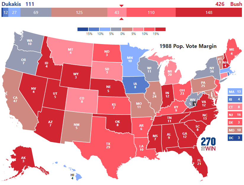 Map Of Us Electoral College.Presidential Election Of 1988