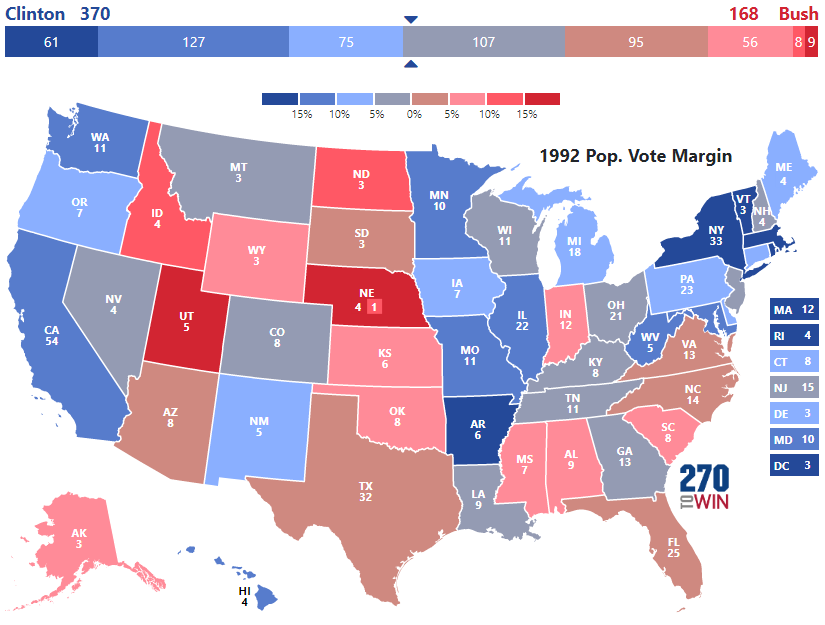 Presidential Election Of - 1992 election us map