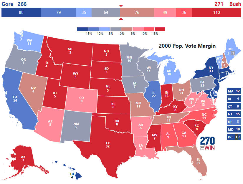 Presidential Election Of 2000 - Us-map-popular-vote-2016