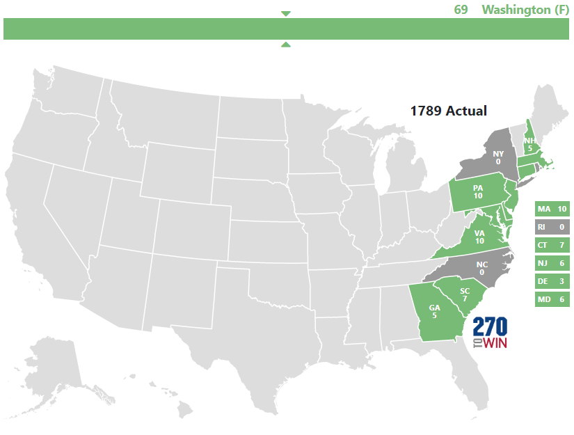 Presidential Election Of - 1789 map of us