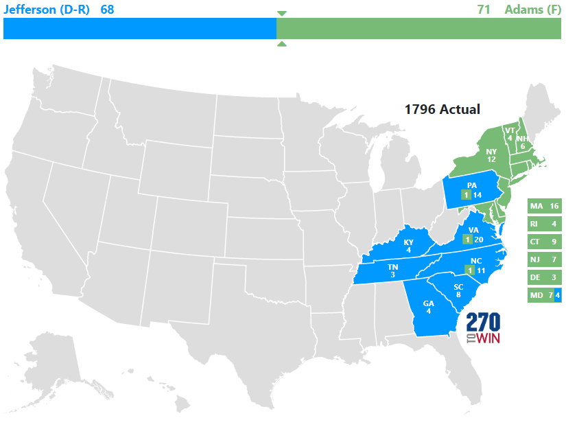 Presidential Election Of - Us map 1796