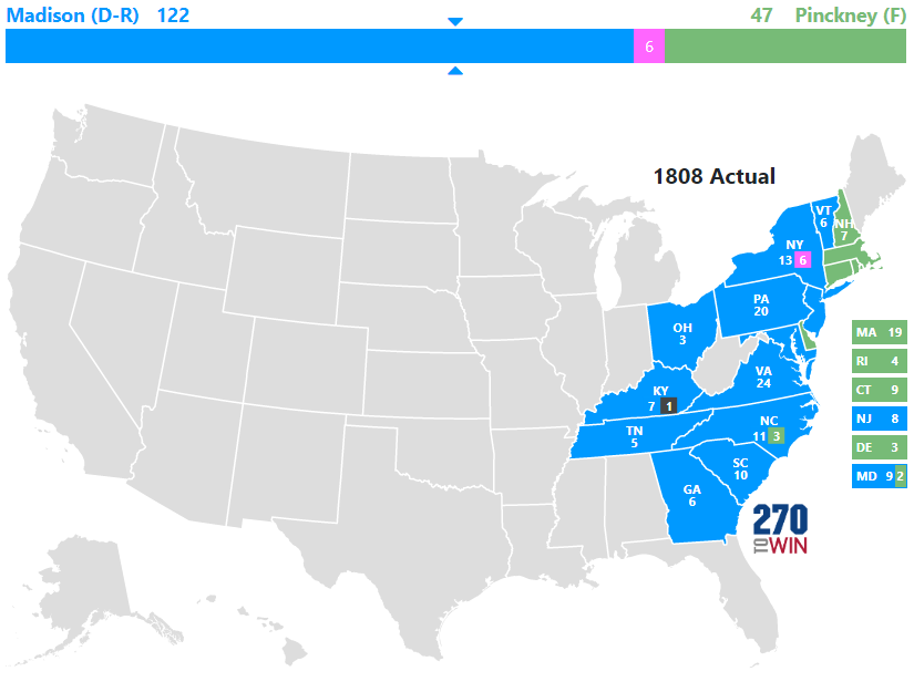 Map Of The Us In 1800.Historical U S Presidential Elections 1789 2016