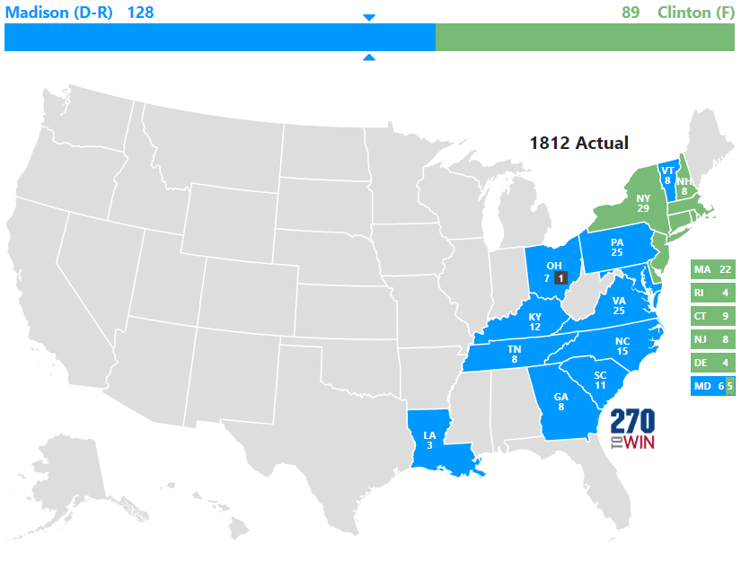 Historical US Presidential Elections - Us map by electoral vote