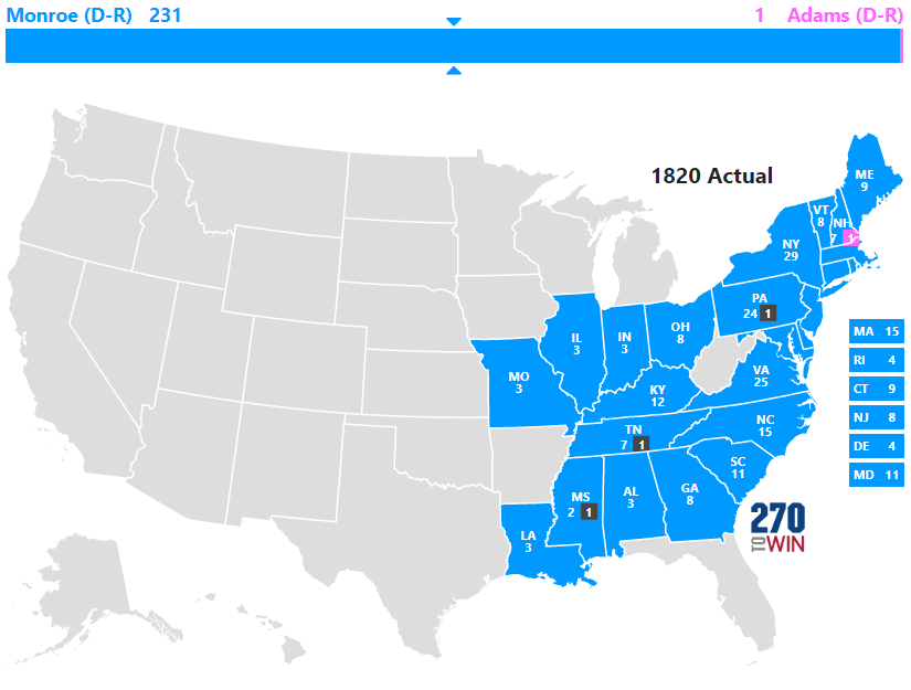 Presidential Election Of - Map of us in 1820