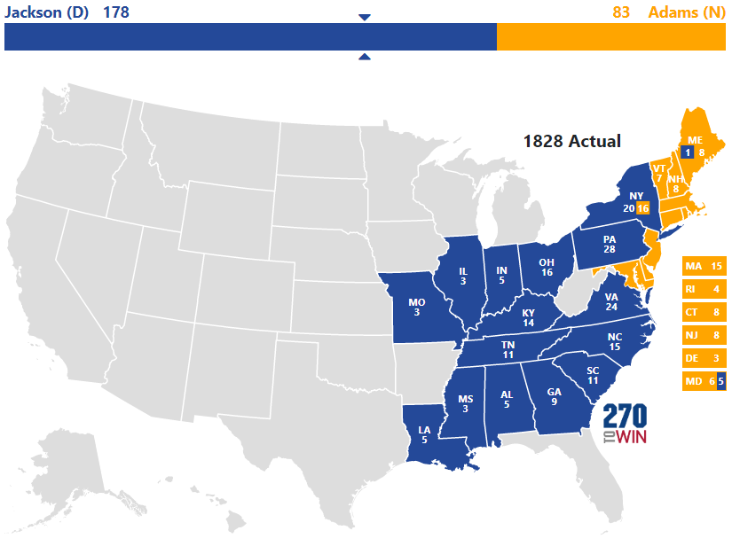 Map Of Us 1828 Presidential Election of 1828