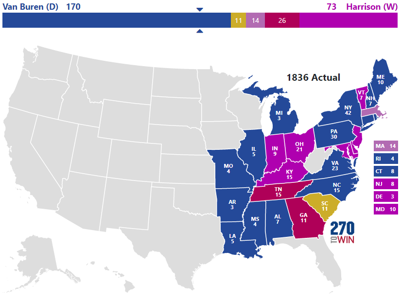 1836 Presidential Election Results