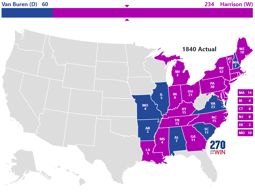 Presidential Election Of - Map of the us in 1840