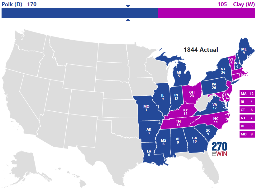 1844 Presidential Election Results
