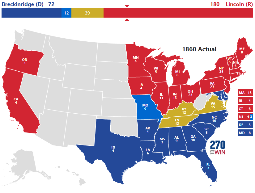 Presidential Election Of - Us in the 1860s map