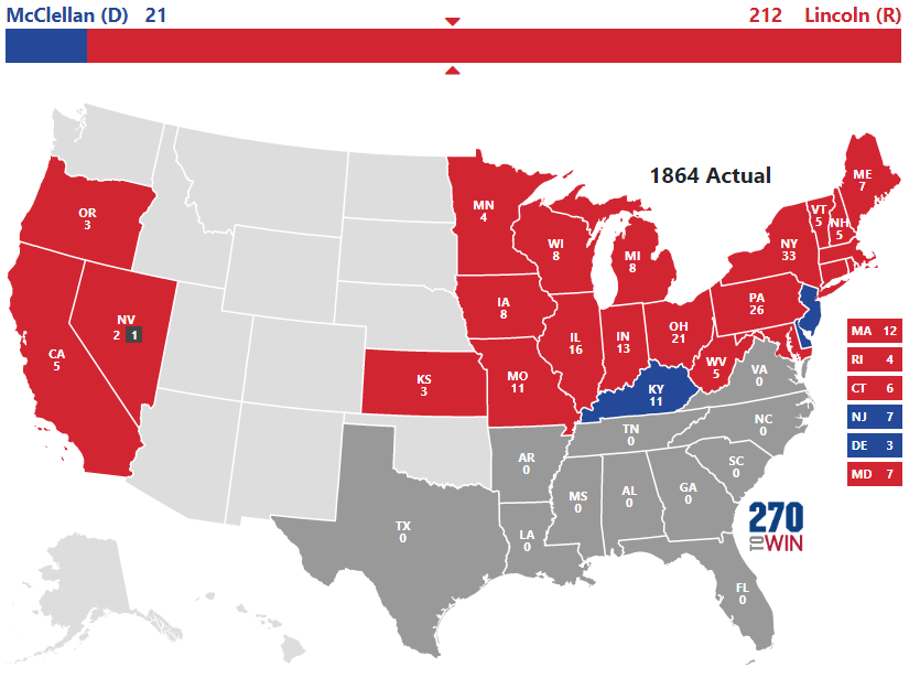 Historical US Presidential Elections - Electoral votes us map
