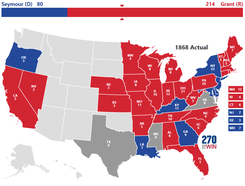 Historical US Presidential Elections - Us electoral votes map