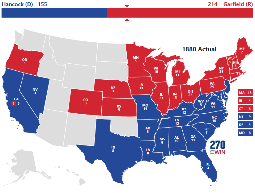 Presidential Election Of - Us 1880 map