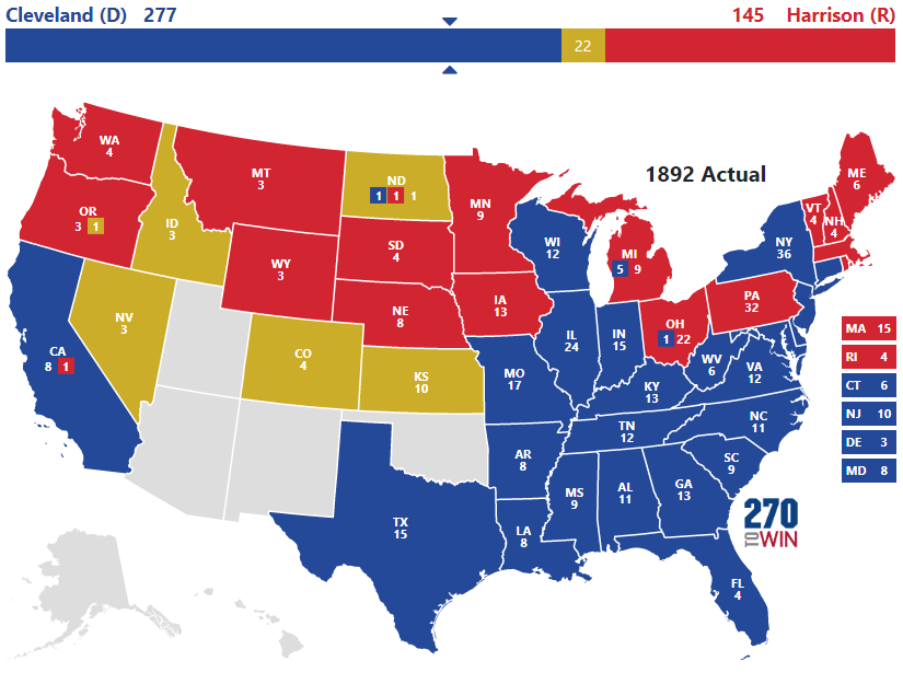 1892 Presidential Election Results