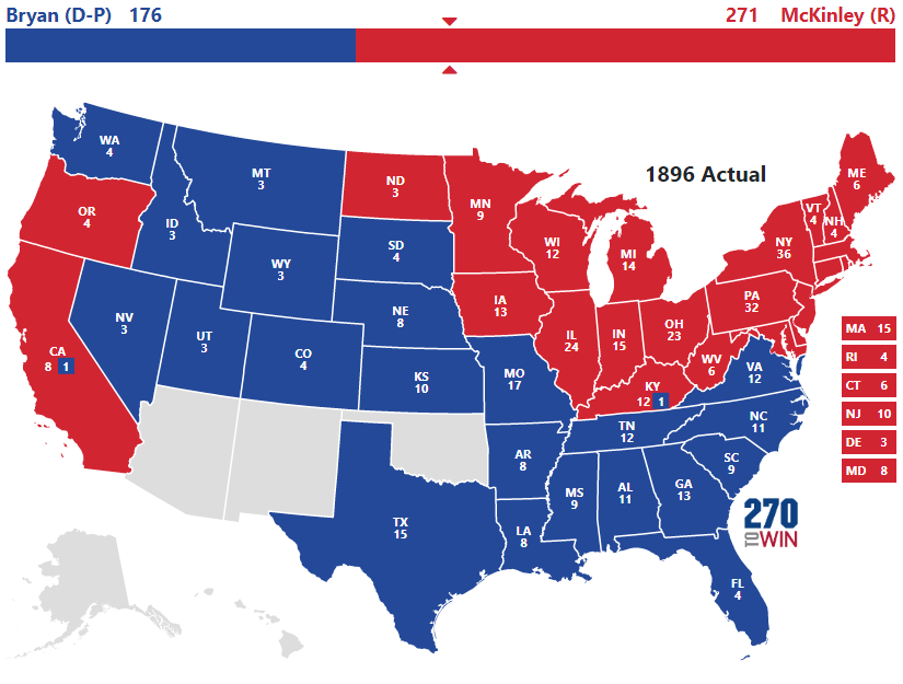 1896 Presidential Election Results