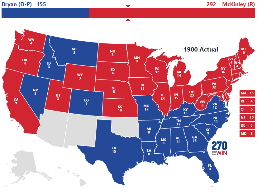 Historical US Presidential Elections - Us map in 1900