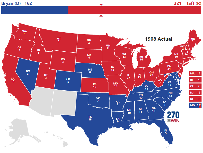 Historical US Presidential Elections - Us electoral map interactive