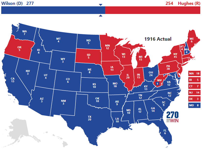 1916 Presidential Election Results