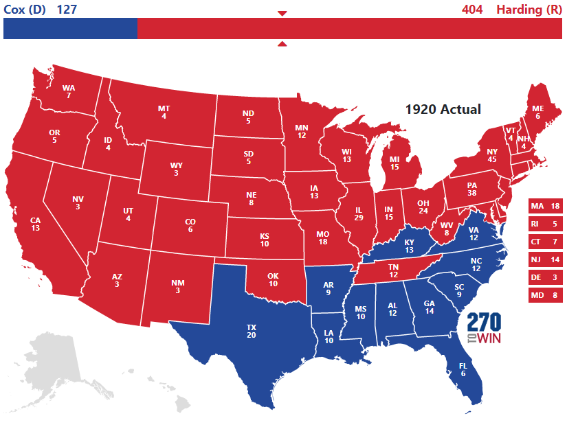 Us Map 1920.Historical U S Presidential Elections 1789 2016