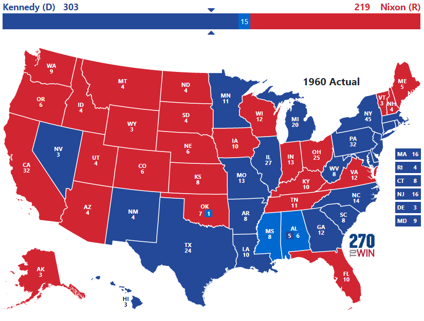 Change History Try Out The 1960 Interactive Map Election Facts