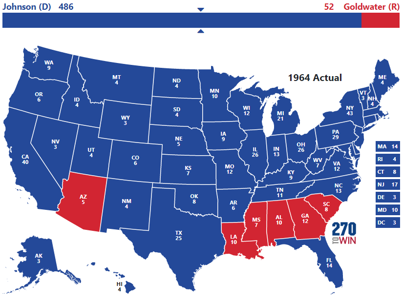 Try Out The 1964 Interactive Map Election Facts