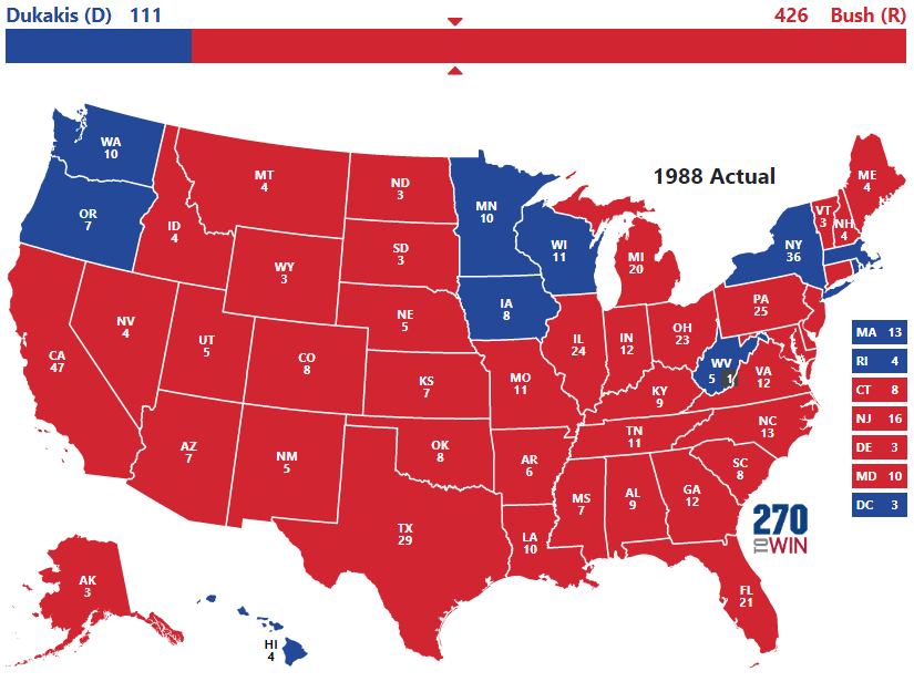 Historical US Presidential Elections - Us electorral map