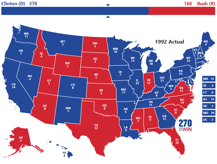 Presidential Election Of 1992 - Us-elections-2016-live-map