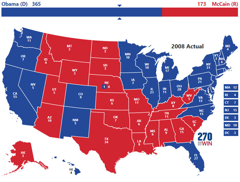 Image result for 2008 electoral map