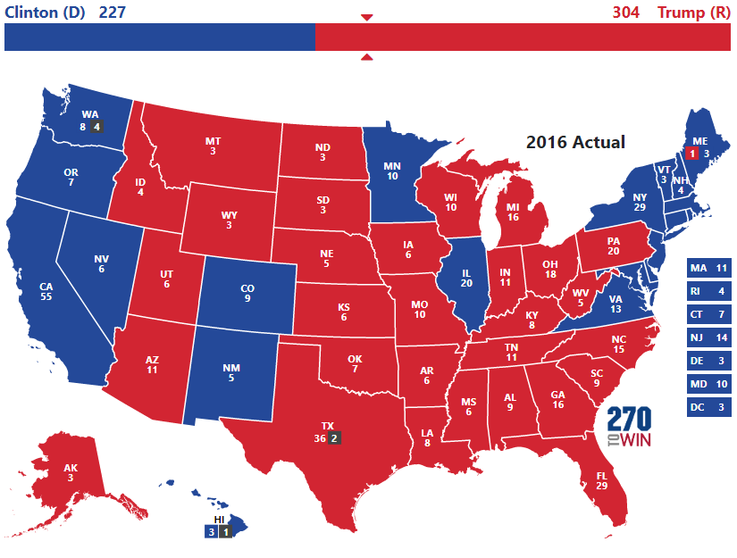 Electoral Map Us Election 2016 Presidential Election of 2016