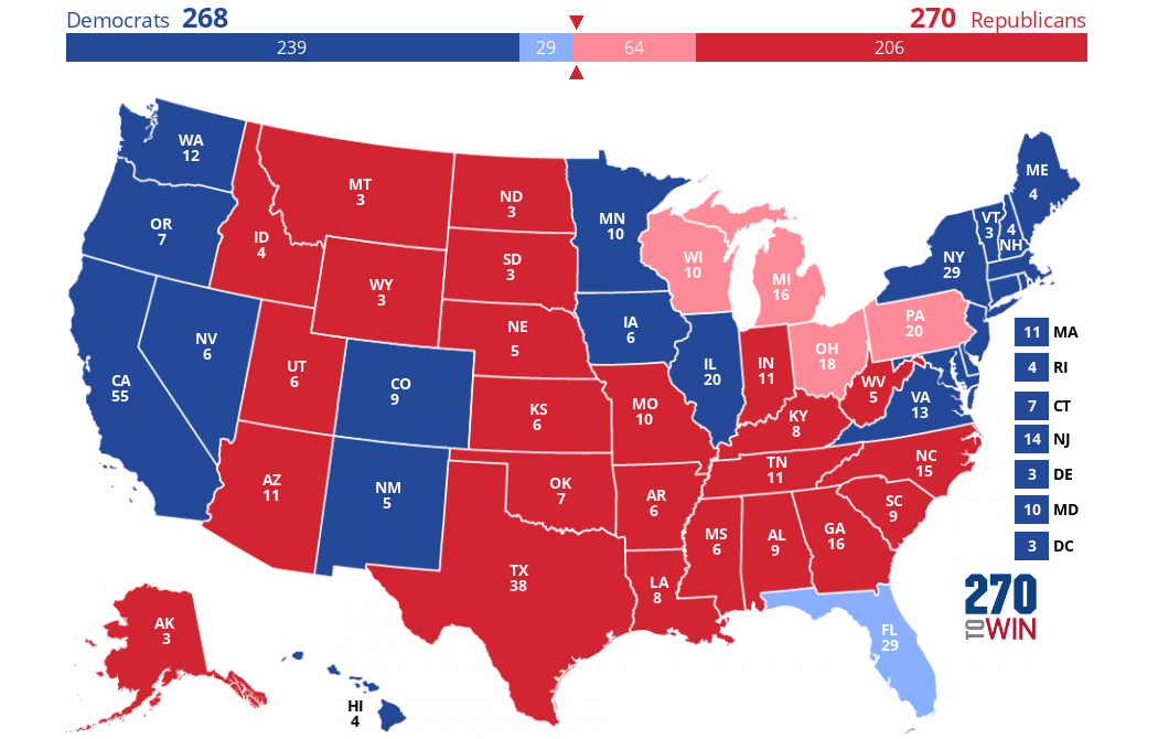 Rust Belt States Map.Paths To Victory For Clinton And Trump