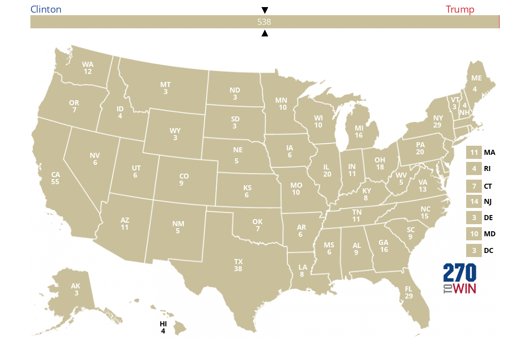 Blank  Electoral Map - Us map electoral to color