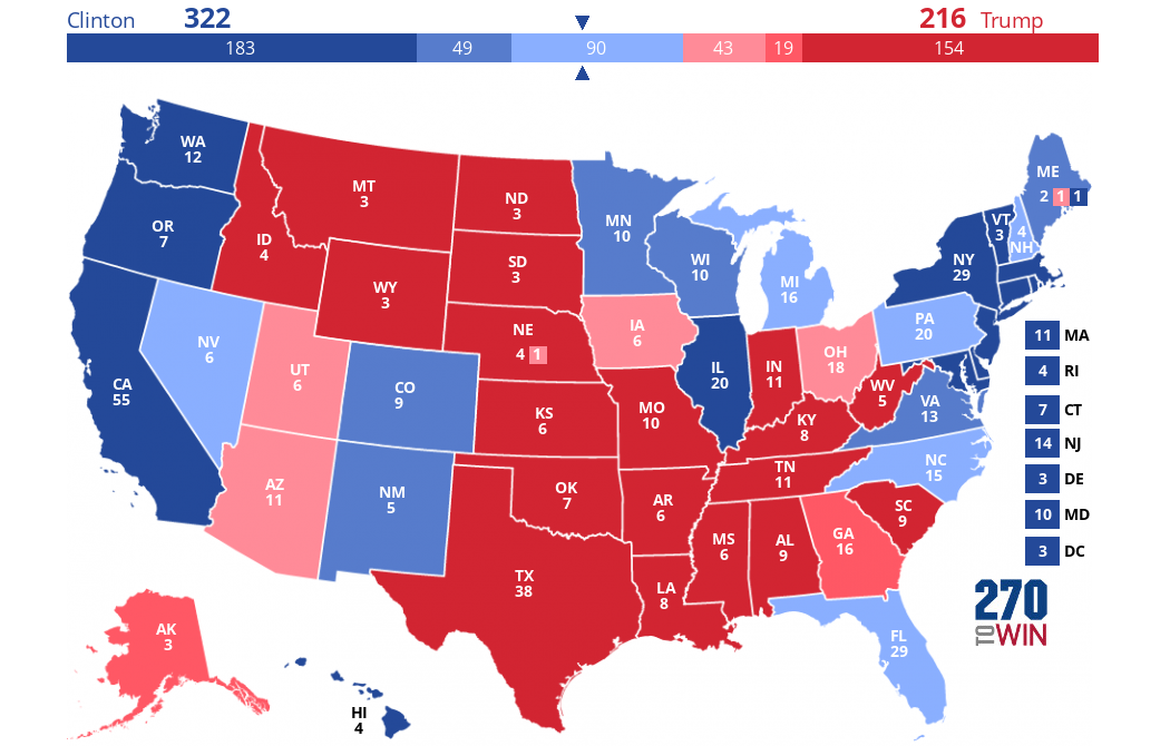 Presidential Election Forecast Maps - Final us electoral map 2016