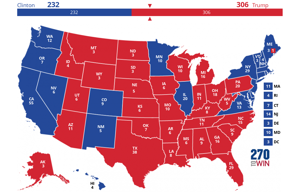 Presidential Election Actual Results - Map of us without electoral college 2016