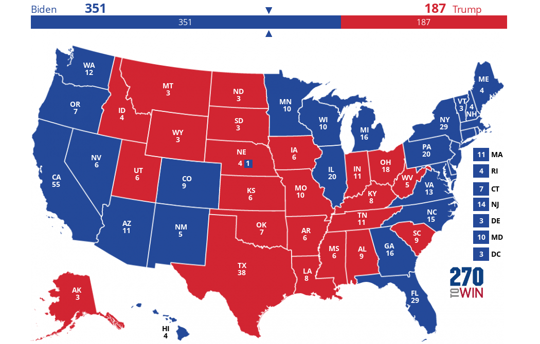 2020 Map Based on Polls (No Toss-ups)