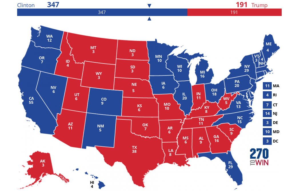 Map 347.Ny Times Upshot Electoral Map Looks Challenging For Trump
