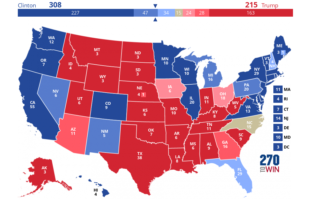 All Estimates Point Toward HRC Probability What Determines - Deplorable trump supporters hats with us map of red states