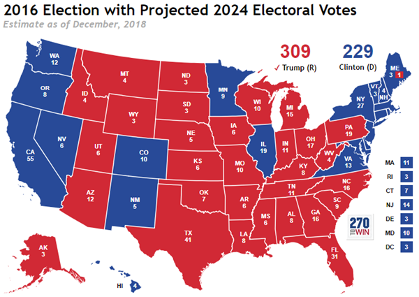 Updated 2024 Electoral Map Based on Latest Census Bureau ...