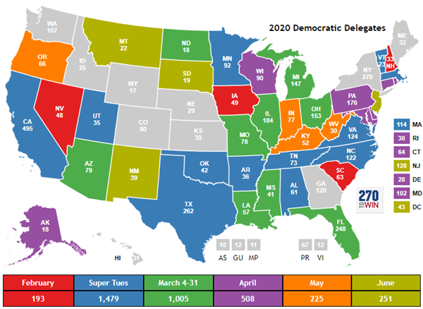 Presidential Poll By State Map 2020 Presidential Nomination: Primary & Caucus Election Calendar