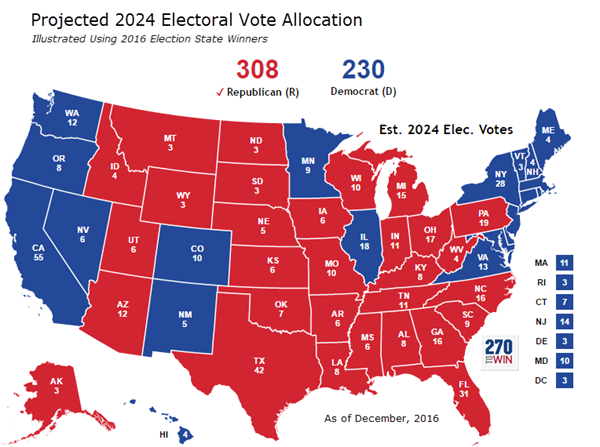 First Look: Projected 2024 Electoral Vote Allocation