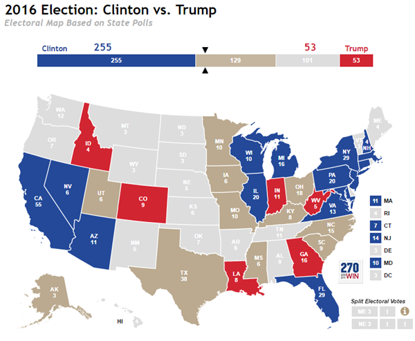 Election News Polls And Results - Trump vs clinton us map
