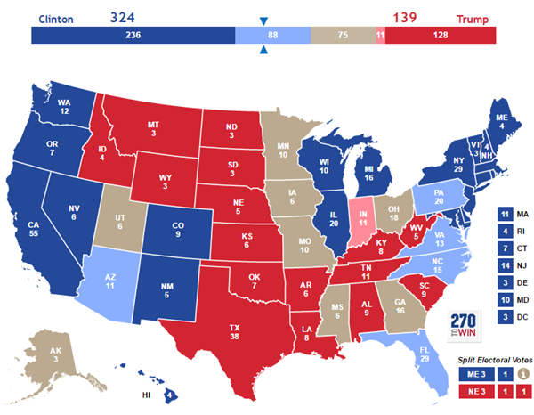 Updated Clinton vs. Trump Polling Map
