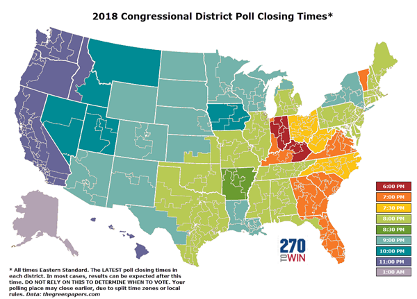 2018 Election Day State by State Poll Closing Times