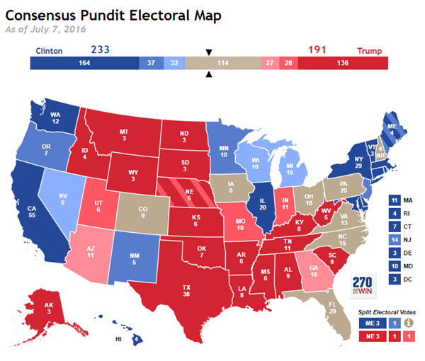 Consensus Electoral Map Update Pennsylvania Moves to Tossup