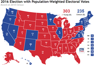 Interactive Electoral Maps Based on Alternate Distributions