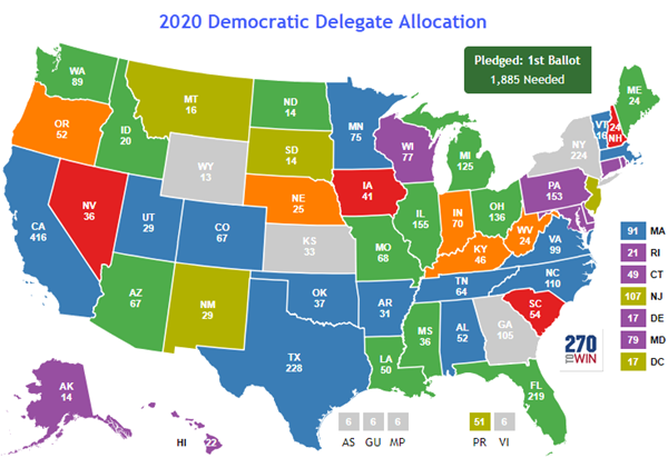 Delegates By State Map Updated Democratic Primary Map with Pledged Delegate Counts