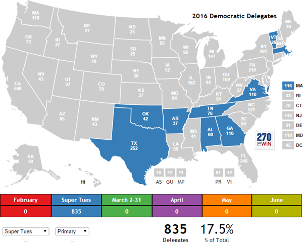How Many Delegates Per State Map.Clinton Leads By Double Digits In Most Early March Primaries