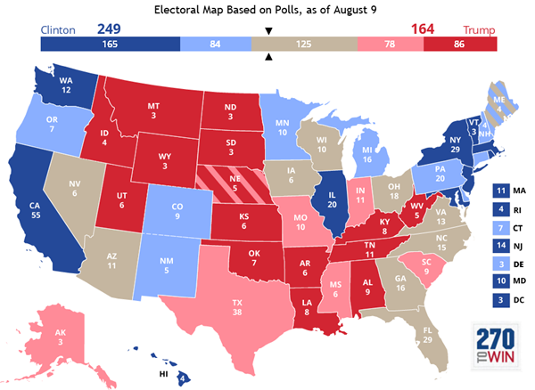 the map shows that the battlegrounds of recent elections remain compeive with georgia and arizona also looking to be in play it is also worth noting