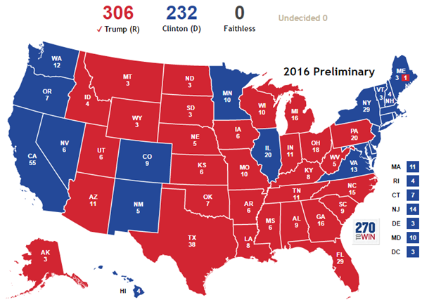 Trump Won States Map.A Map For Those That Want To Track Possible Faithless Electors